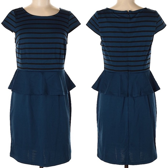 Elle Dresses & Skirts - Elle peplum cap sleeve blue dress w stripes large
